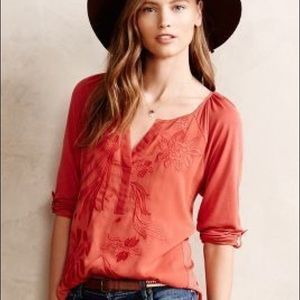 Tiny Lore Embroidered Henley Blouse Anthropologie